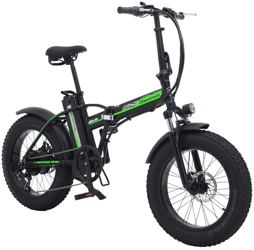 SHENGMILO 500W Bicicleta Eléctrica Plegable Montaña Nieve